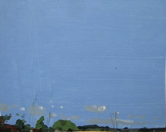 October 10, Day End, Original Autumn Landscape Collage Painting on Panel, Ready to Hang, Stooshinoff