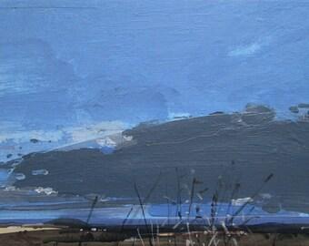 Little Flight, Original Winter Landscape Collage Painting on Panel, Stooshinoff