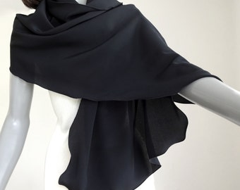 Petite XS XXS Small Black Coverup Silk Crepe Shawl Wrap, Solid Black Formal Evening Wrap, Size 0 1 2 3, Special Occasion Scarf.