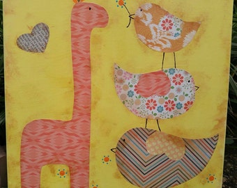 Be My Friend Yellow and Soft Orange Giraffe Mixed Media Whimsical OOAK Painting Folk Art Custom Girl Boy Nursery Children's Room Wall Art