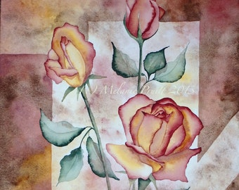 Rose Original 12x16 Watercolor  floral geometric earth tones roses painting by Melanie Pruitt EBSQ
