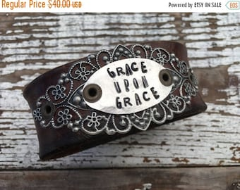 40% FLASH SALE- Stamped Leather Cuff-Grace Upon Grace-Word Cuff-