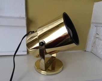 Gold Atomic Spotlight Lamp / Swivels / Metallic / Mid Century