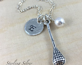 Personalized Lacrosse Charm Necklace, Sterling Silver Lacrosse Player Necklace, Lacrosse Team Gift, Personalized Coach Gift