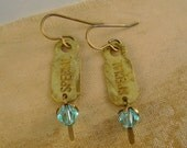 "Aren't You Special - Vintage Brass ""Special"" Tags, Swarovski Crystals Recycled Upcycled Jewelry Earrings"
