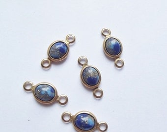 ON SALE Vintage brass charms with glitter cabochons