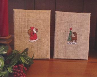 Old Santa Reindeer Christmas Tree Cross Stitch on Burlap Hessian Accent Decoration