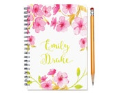 2017 2018 2 Year Weekly Planner, Personalized 24 Month Calendar Notebook, Start Any Time, Custom Gift Idea, SKU: 2yr w pink flowers