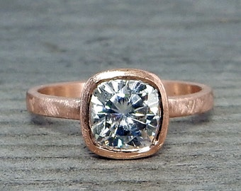 Square Cushion Moissanite Ring in Recycled 14k Rose Gold - Forever Brilliant - Alternative Engagement Ring, Eco-Friendly, Made to Order