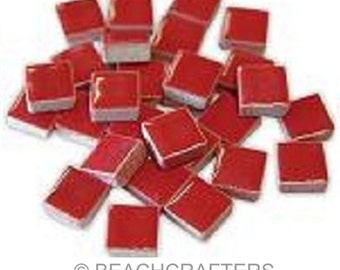 50 - 3/8 inch RED Ceramic Mosaic Tiles - DTI