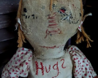 VERY Primitive, Love, Raggedy Ann, Hearts, Red, White, Very Worn, Old, Antique, Vintage, TeamHaHa, Hafair, Old Cloth Doll, Vintage Rag doll,