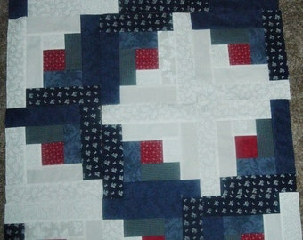 Set of 16 Already Pieced  Patriotic Log Cabin Quilt Blocks 8.5 x 8.5 inches. Last Set