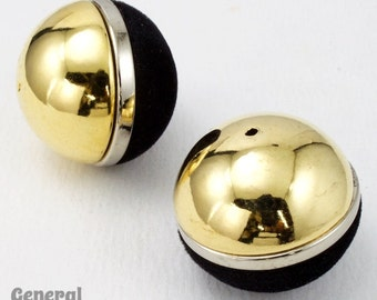 30mm Black and Gold Bead (2 Pcs) #4665