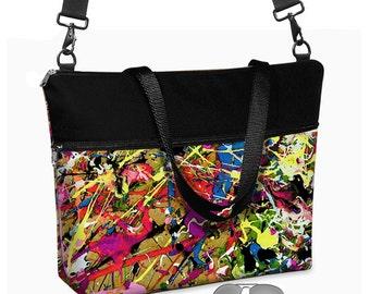 "17 inch Laptop Tote Bag Womens Briefcase Crossbody Laptop Bag 15.6""  Messenger Laptop Case Paint Splatter Jackson Pollock  red purple MTO"