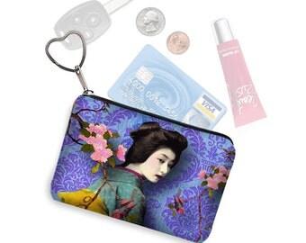 Small Zipper Pouch Coin Purse Keychain Asian Boho Damask Business Card Holder Key Fob Fabric Pouch Geisha Bird purple blue pink teal RTS