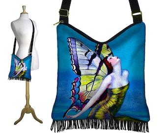 Hippie Bag Fringe Boho Bag Hobo Purse Handbag Cross Body Shoulder Bag Art Deco Flapper Butterfly Fairy Goddess blue green purple zipper RTS