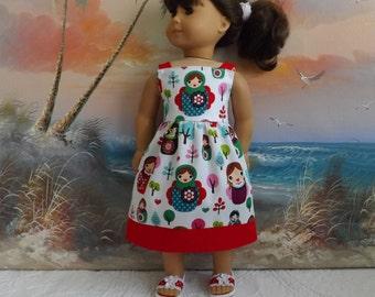 American Girl Doll Clothes Tea Length Sun Dress Matroyshka Doll Medley Gently Gathered