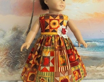 "18"" Doll dress Autumn Fall Patchwork Medley Gold Red and Green"