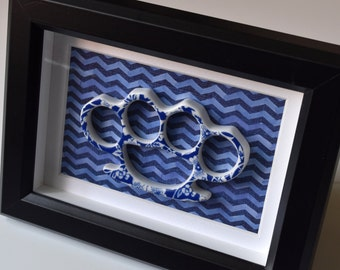 Framed China Knuckles - Blue Floral Porcelain on Blue Chevron