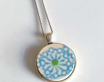 ETSYVERSARY SALE Simple Circle Recycled China Pendant - Turquoise and Green Modern
