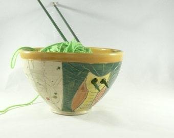 Handmade Extra Large Pottery Yarn Bowl with owl - Ceramic knitting organizer Crochet Bowl in Colorado Art Design  389
