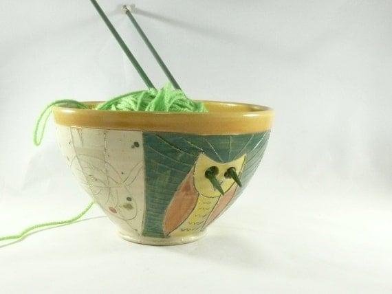 Large Pottery Yarn Bowl with owl, Gift for her, Knitter Gift, Ceramic knitting organizer Crochet Bowl, Colorado Pottery Aspen Tree Art  389
