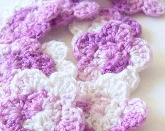 Mini Crochet Flower Appliques, Purple Ombre Flowers, Flower Embellishment, Scrapbooking, Miniature Flower, Set of 10, Crochet Flower Motif