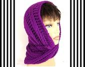 Purple Neon Crochet Scarf, Crochet Infinity Scarf, Crochet Cowl Scarf, Crochet Hooded Scarf, Crochet Hooded Cowl, Purple Neon Scarf, JOAN