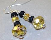 Gelb AB Böhmisches Kristall Ohrringe - Silber Ohrringe - Ohrringe baumeln - Anweisung Ohrringe - Boho Schmuck - Ohrstecker - Geschenk für Sie