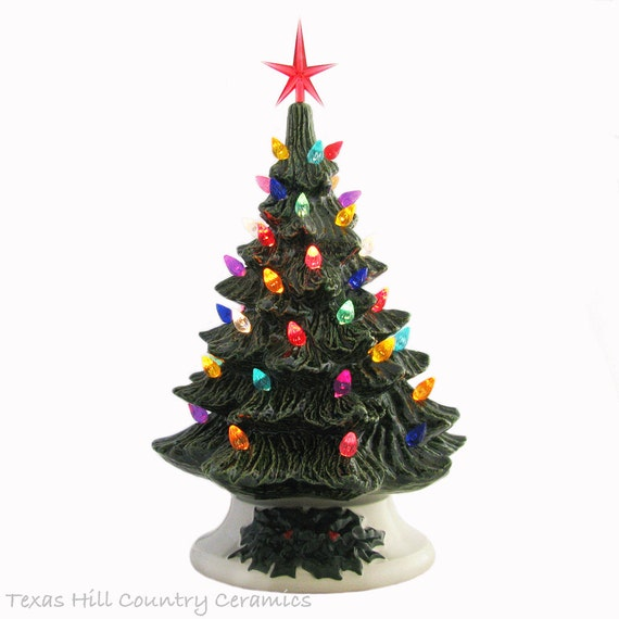 Step 2 Light Up Christmas Tree: Tabletop Ceramic Christmas Tree In Green 11 1/2 Inches Tall