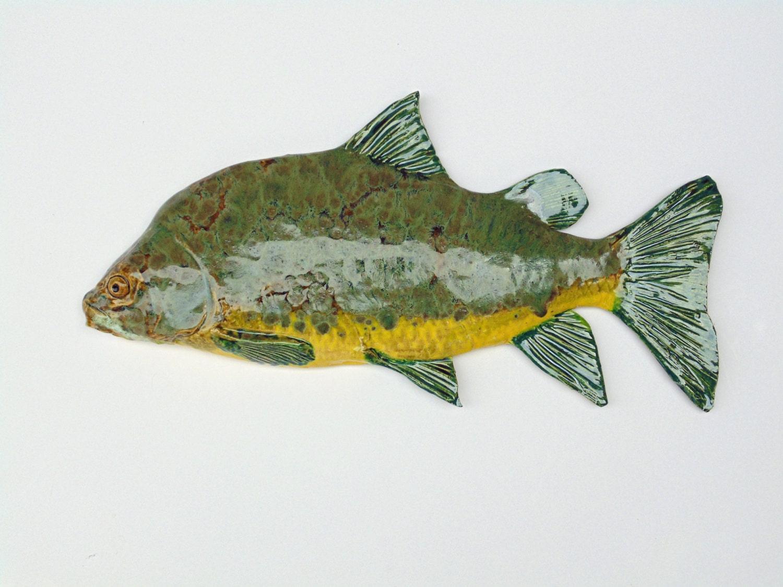 Big mouth buffalo carp ceramic fish art decorative wall for Decorative carp