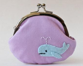 Coin purse kiss lock change purse blue whale on lavender purple kawaii cute animal sea ocean baby blue pouch