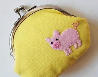 Coin purse kiss lock change purse pig on lemon yellow kawaii cute animal piglet pink pastel yellow pouch