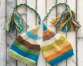 Newborn Boy TWiN Hats BaBY PHoTO PRoPs Brown Blue Green Gold Stripe FCN Stocking Caps TAiL TaSSeL Beanies Coordinating Toque RTS