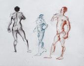 Original Figure Sketch - 18x24 Male Nude Conte and Pastel Drawing by David Lloyd