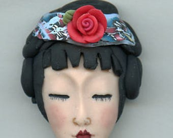 Polymer Clay OOAK   Detailed Asian  Art Doll Face with Hair Cab  AWHR 1