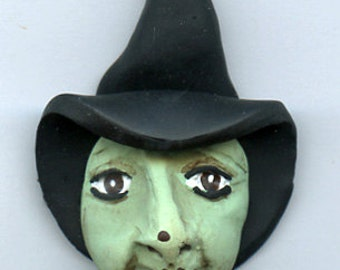 Polymer Witch or Crone Art Doll Face With Black Hat WTCHH 8