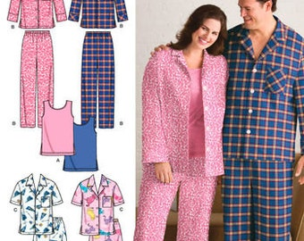 Simplicity 3971 Sewing Pattern Pajamas For Men and Women Size AA Small-Medium-Large
