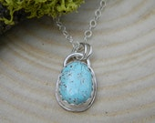 Petite Natural Royston Turquoise Pendant Necklace -  sterling silver