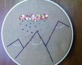 Mountain range with rain and sequins embroidered hoop art