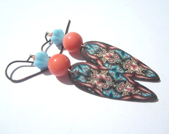 Pink Orange Coral Turquoise Polymer Clay Earrings, Poly Clay Dangle Earrings, Dagger Poly Clay Earrings in Turquoise Coral And Brown.