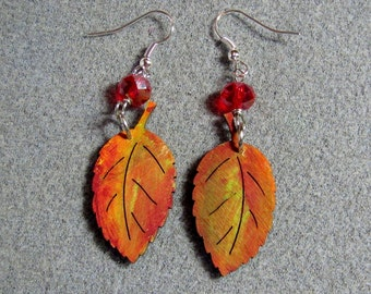 Autumn Leaves Maple Oak Handmade Wooden Dangle Earrings Hypoallergenic 8E