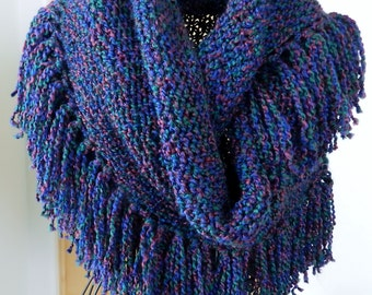 Blue Fringed Shawl, Knit Triangle Wrap, Hand Knotted Fringe, Blue Red Green Wrap, Fall Fashion, Gifts for Her, SH3