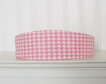 Pink and White Houndstooth Wide Headband - Womens Headband - Womens Fabric Headband - Hair Wrap