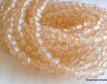 3mm English Cut Beads - Champagne Luster - Czech Glass Beads - 50 pcs