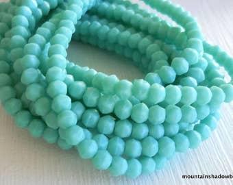 3mm English Cut Beads - Matte Turquoise - Czech Glass 50 pcs (SP- 60)