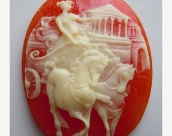 50% OFF 40x30mm Large Oval Cameo Chariot Ivory/Carnelian