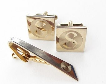 Monogram Cufflink Set Letter S Gold Tone Vintage Cuff Links and Tie Bar Tack