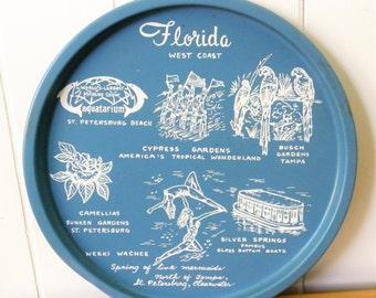 vintage blue and white Florida West Coast souvenir tray