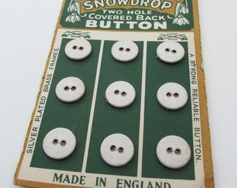 Vintage Snowdrop Buttons - Sheet of 9 White fabric covered metal Buttons- set of 9